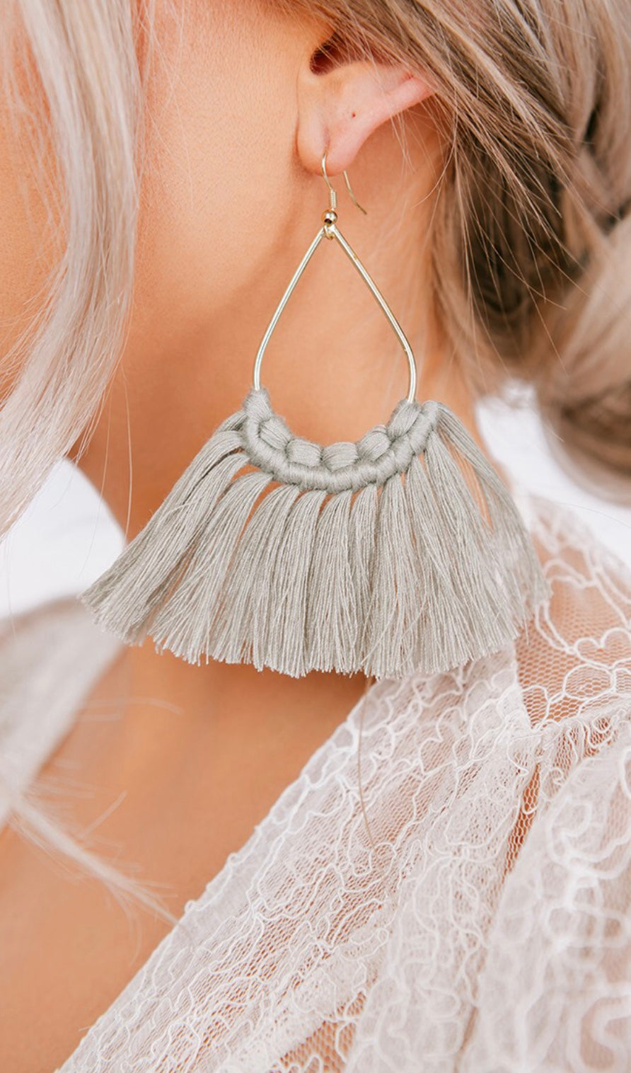 Sage Woven Detail Fringe Hoop Earrings