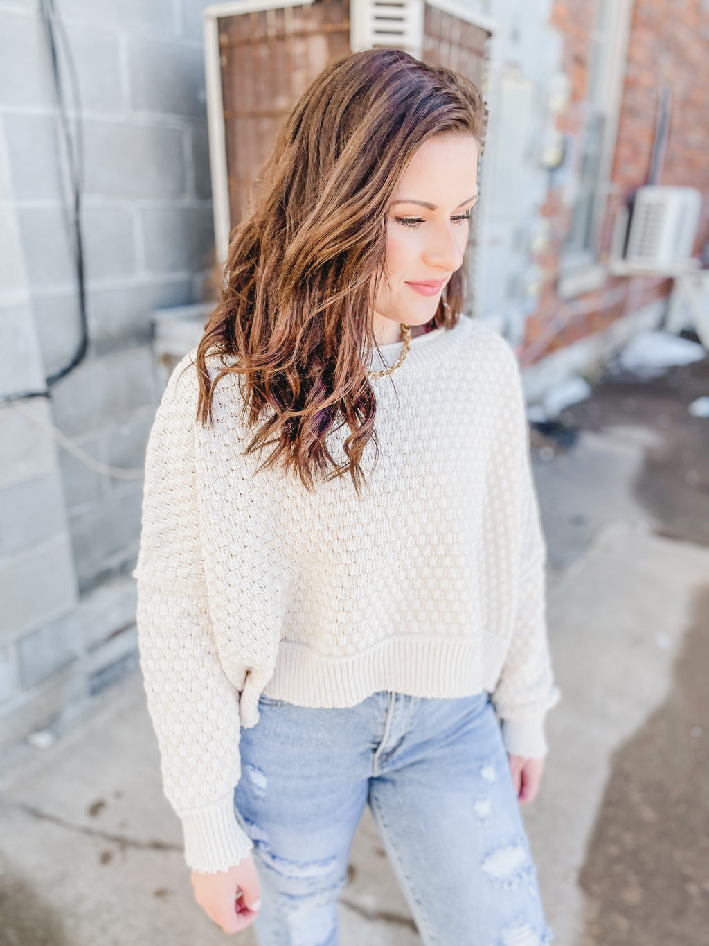 Ivory Dolman Sleeve Spring Sweater