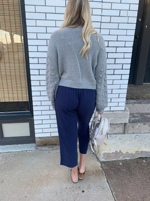 The Dani Pleated Cropped Pants - Navy