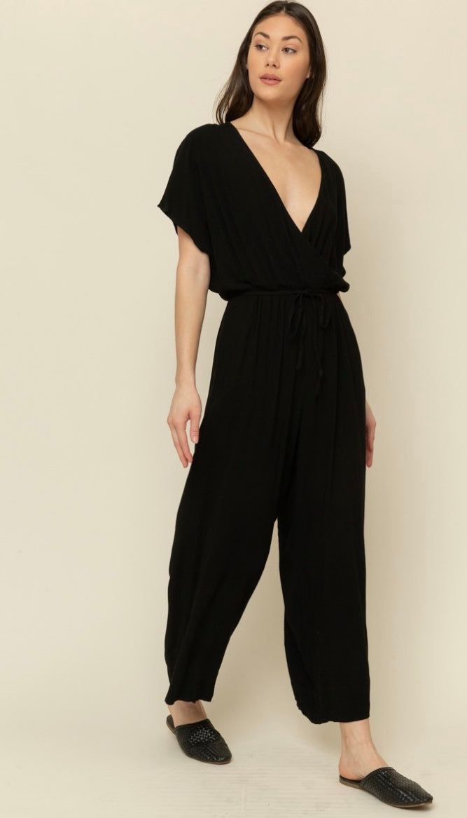 Linen Blend Short Sleeve Jumpsuit