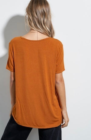Soft and Lightweight V-Neck T-Shirt - Copper
