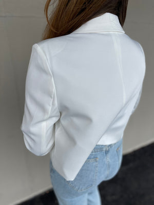 Ivory Double Breasted Cropped Blazer