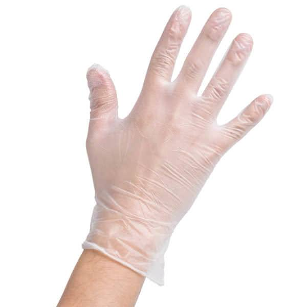 Powder-Free Clear Vinyl Disposable Gloves, 100/box