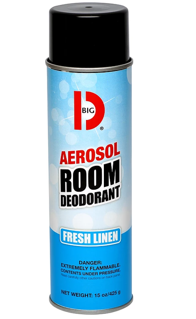 BIG D® FRESH LINEN AEROSOL ROOM DEODORANT, 15oz 12/cs