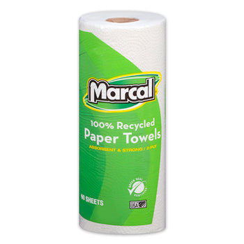 Marcal® 100% Recycled Paper Towel, White, 2-Ply, 60 Sheets/Roll, 15 Rolls/CT