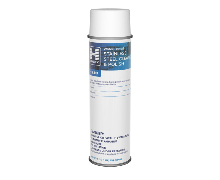 Husky 1210: Stainless Steel Cleaner & Polish (Water-Based) 16oz,12/cs