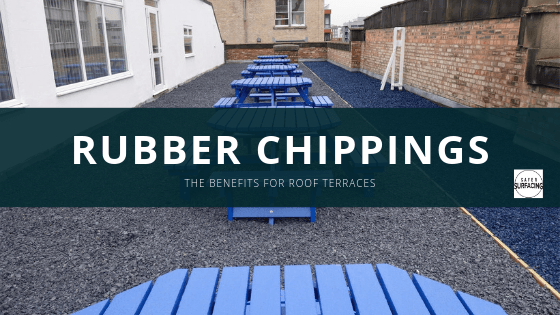 Recycled rubber chippings for a roof terrace