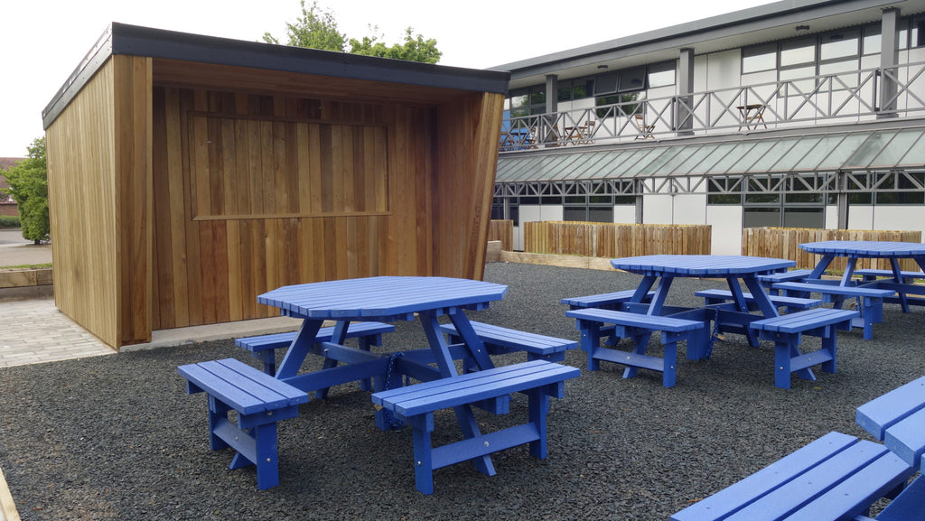 Transforming an outdoor rest area with recycled rubber chipping