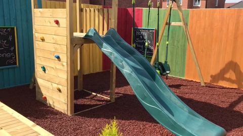 play area with rubber chipping surface