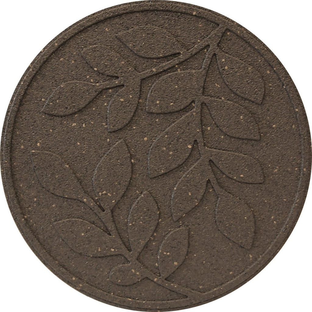 Brown stepping stone with leaf pattern