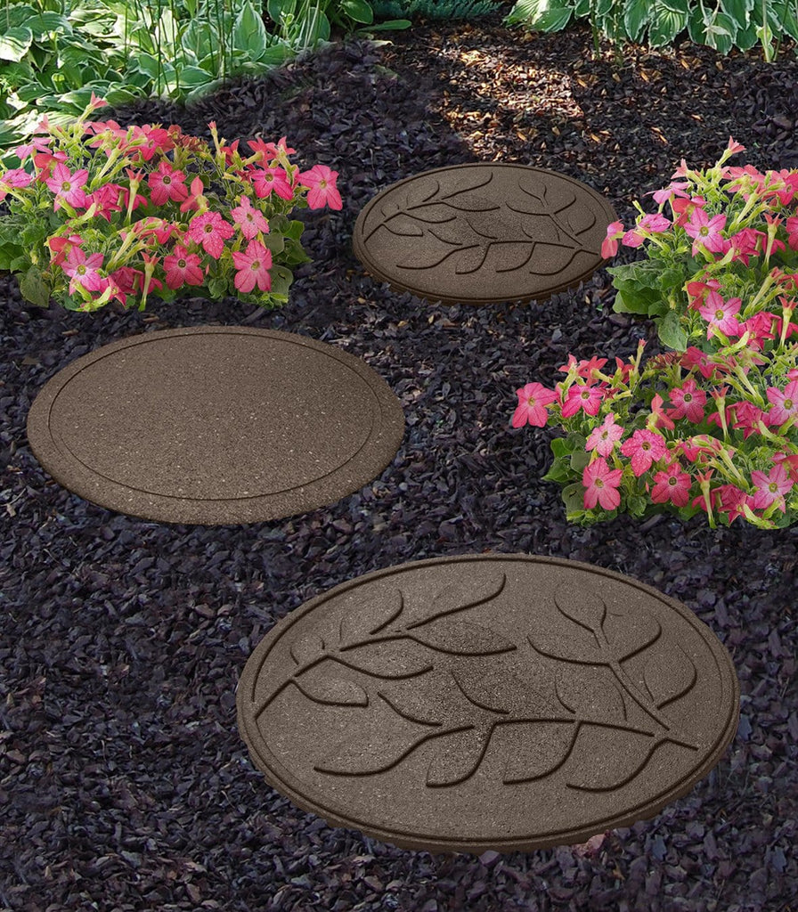 Brown stepping stone with leaf pattern (Pack of 2 save £3) - Safer Surfacing