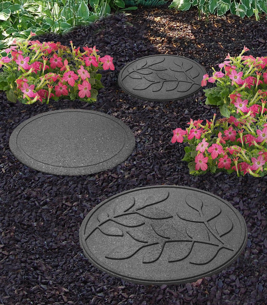 Grey stepping stone with leaf pattern (Pack of 2 save £3) - Safer Surfacing