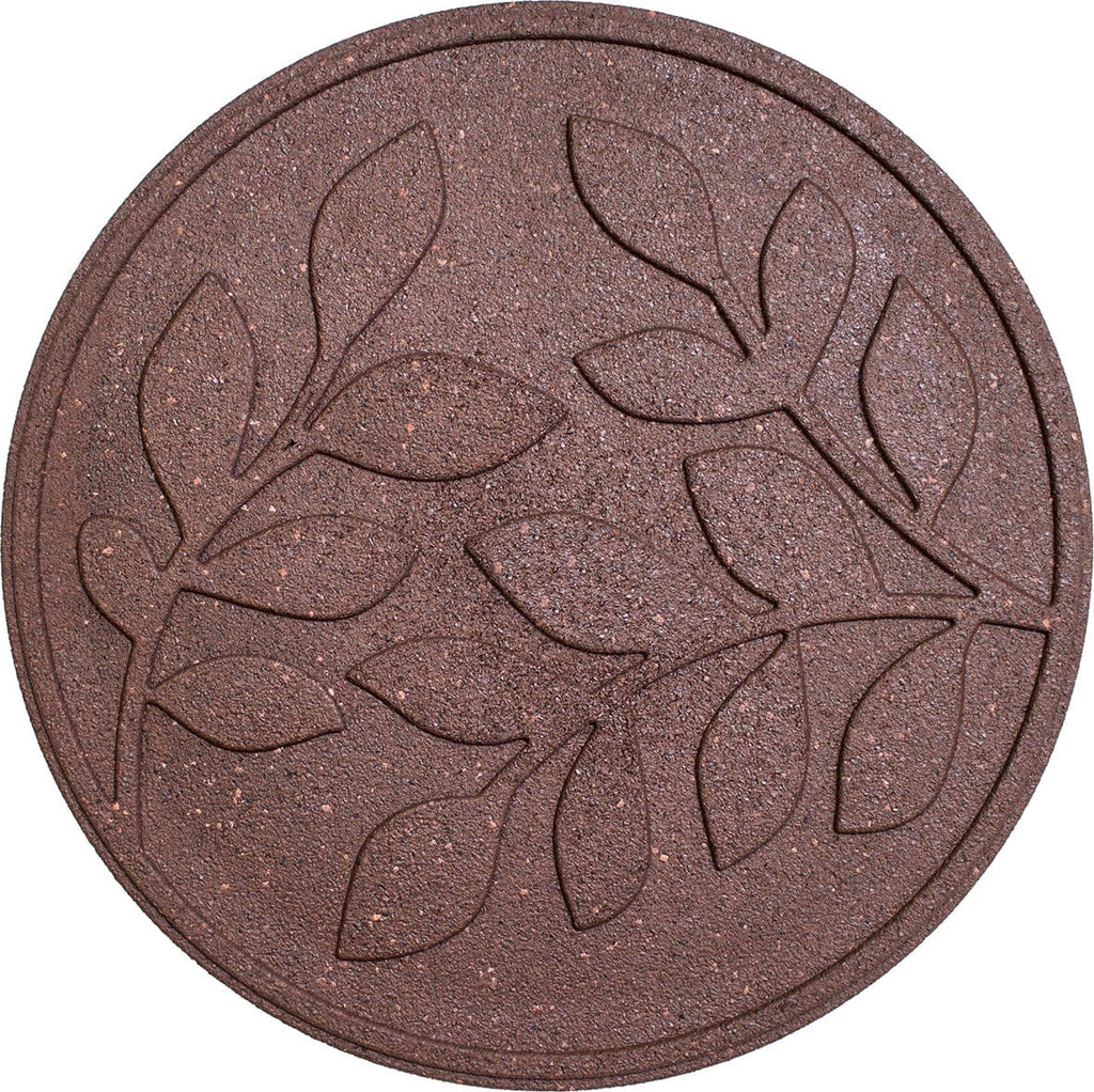 Terracotta stepping stone with leaf pattern