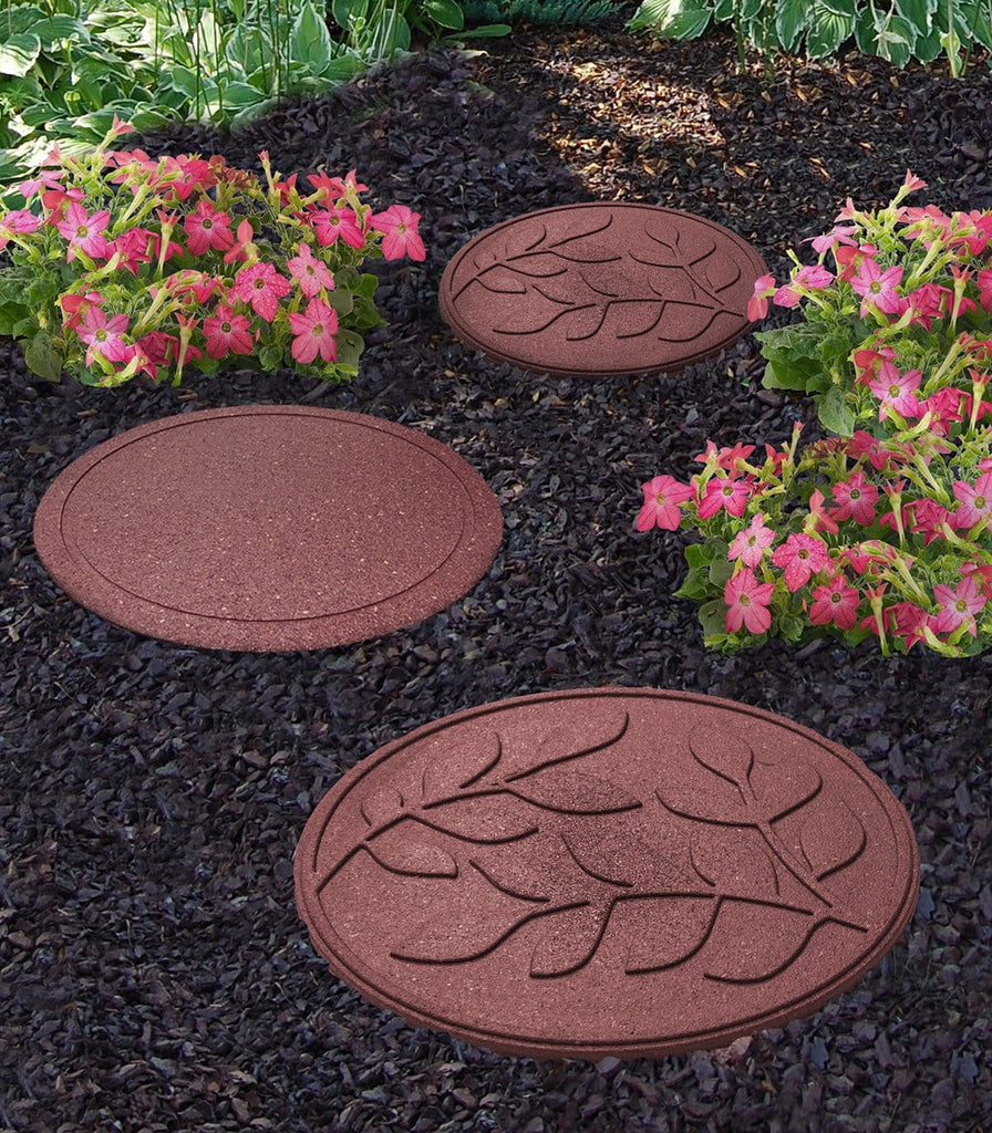 Terracotta stepping stone with leaf pattern (pack of 4 SAVE £9) - Safer Surfacing