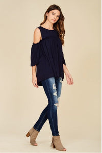 Navy Cold Shoulder - Laurie B's Boutique
