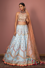 Load image into Gallery viewer, BLUE LEHENGA WITH HALTER BLOUSE - The Grand Trunk