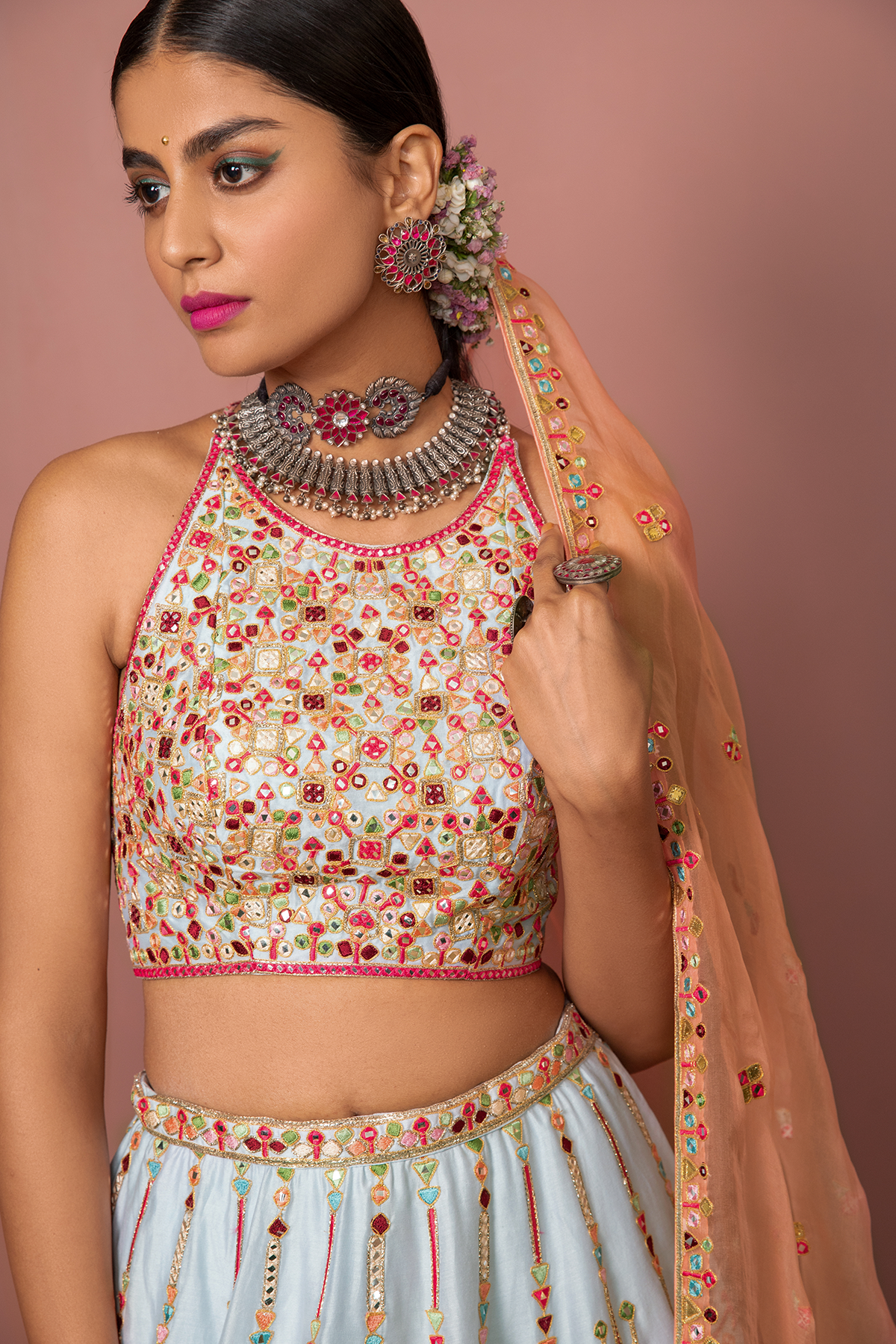 BLUE LEHENGA WITH HALTER BLOUSE - The Grand Trunk