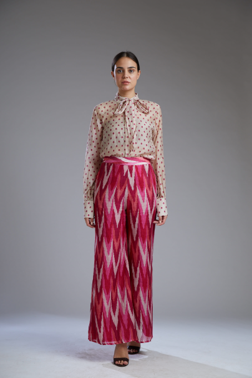 WHITE AND PINK DABU ZIG ZAG PANTS - The Grand Trunk