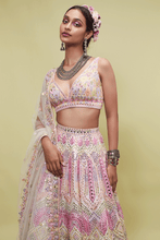 Load image into Gallery viewer, PEACH NET LEHENGA WITH RESHAM - The Grand Trunk