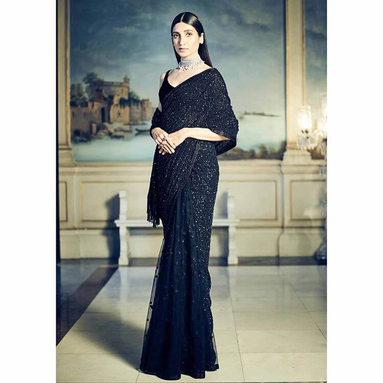 Sabyasachi Black jet-bead lehenga saree - The Grand Trunk