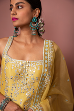 Load image into Gallery viewer, MUSTARD STRAPPY KURTA WITH GHARARA - The Grand Trunk