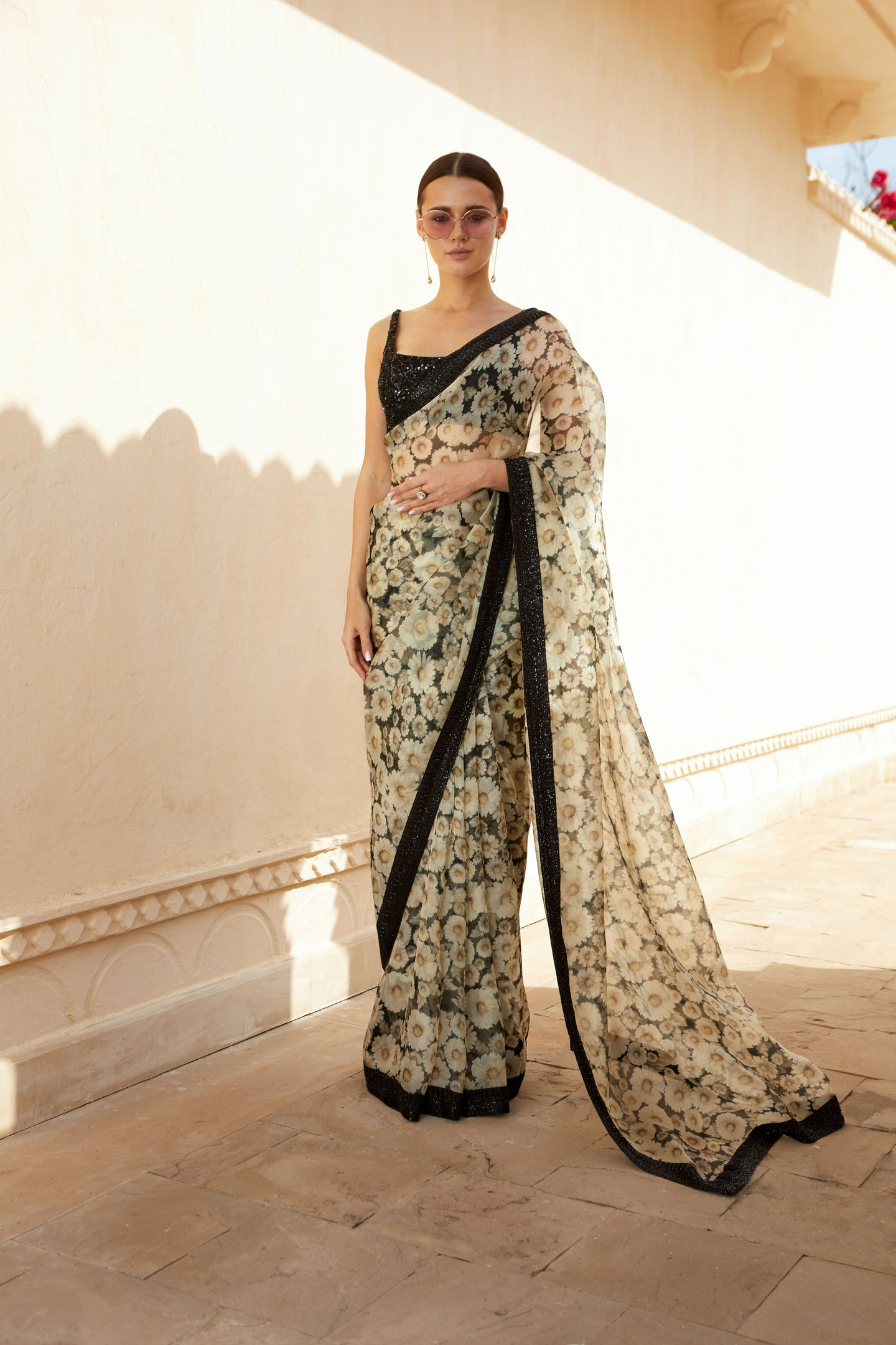 Sabyasachi monochrome Daisy printed sari - The Grand Trunk