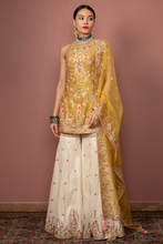 Load image into Gallery viewer, MUSTARD HALTER KURTA WITH GHARARA - The Grand Trunk