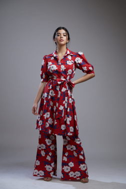 RED,BLUE AND WHITE FLORAL LONG SHIRT DRESS