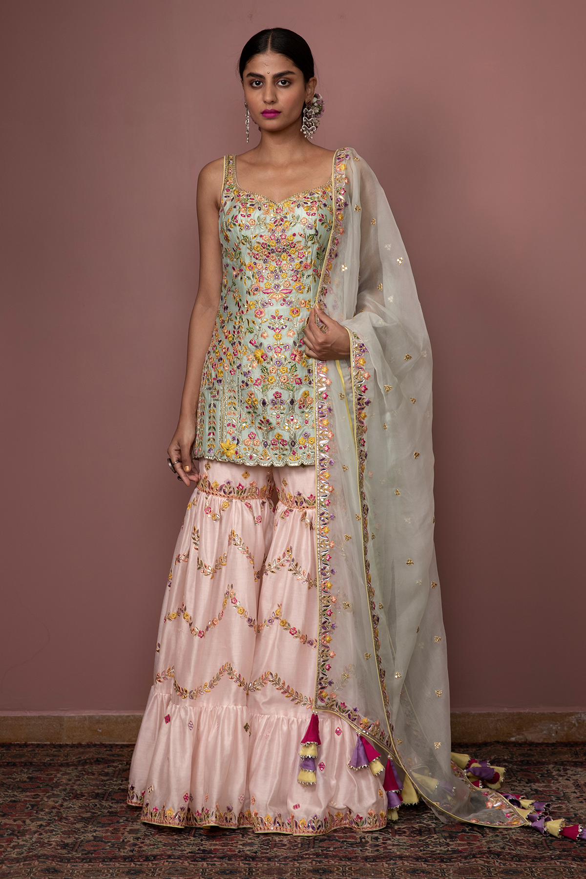 BLUSH PINK CHANDERI LEHENGA WITH FOIL, RESHAM EMBROIDERY - The Grand Trunk
