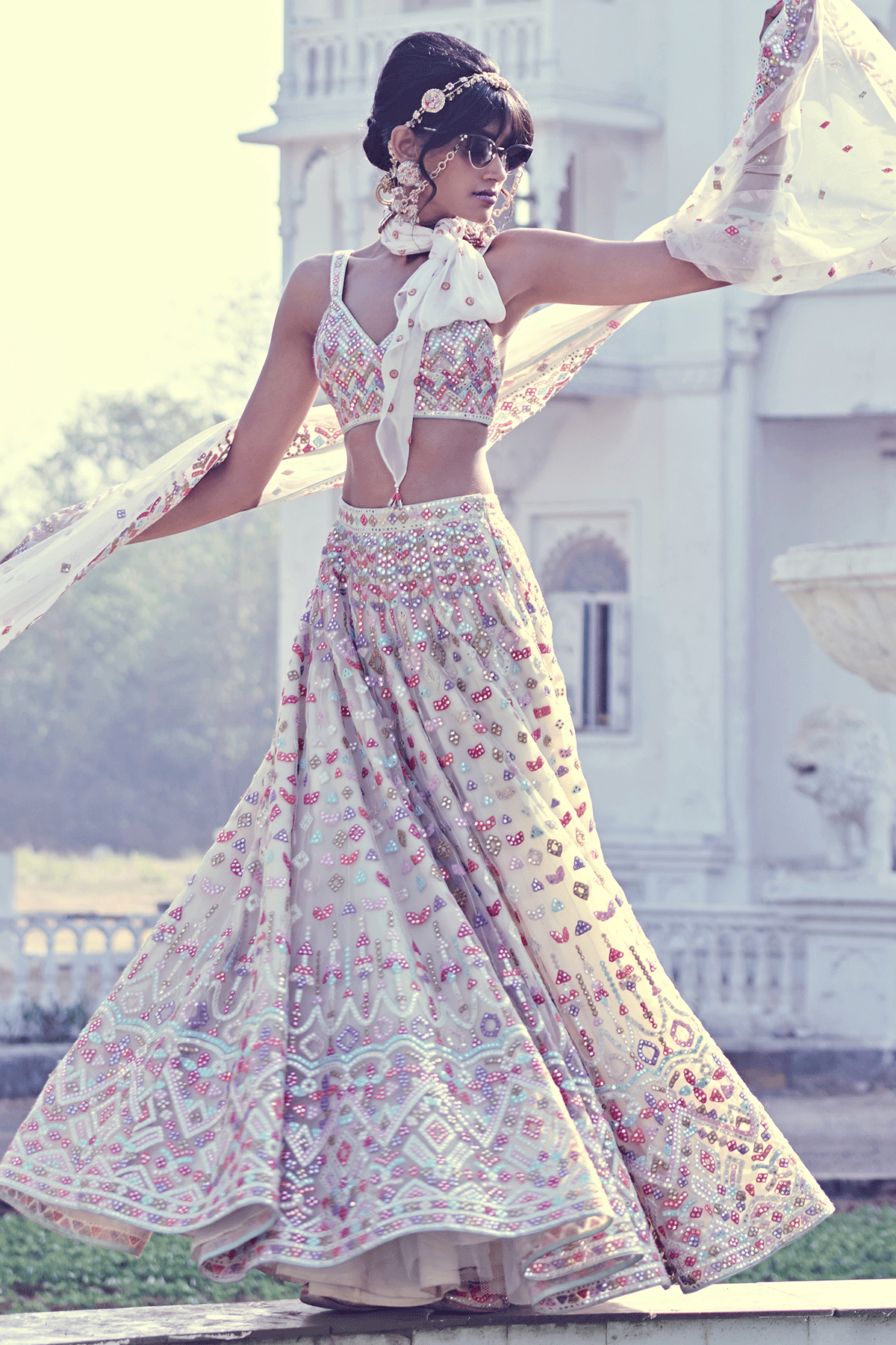 IVORY MULTI MIRROR LEHENGA SET - The Grand Trunk