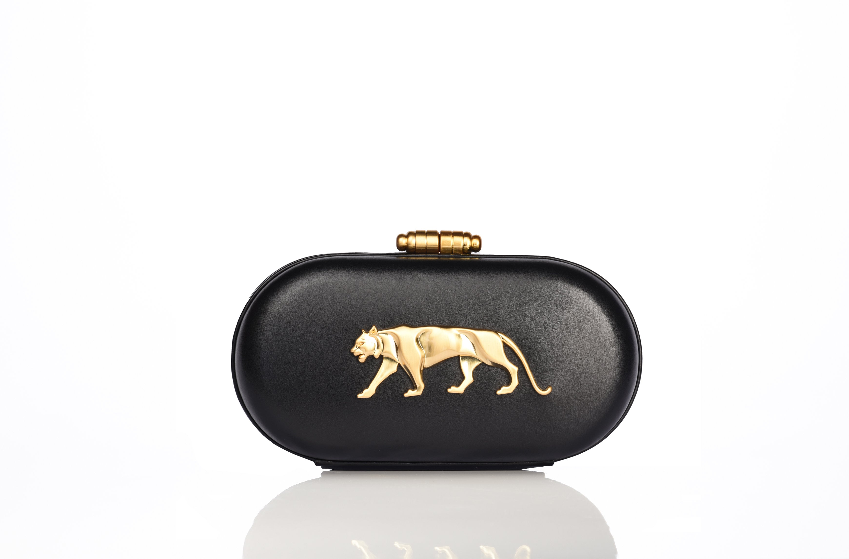 The Royal Bengal Tiger Minaudiere Clutch (Black) - The Grand Trunk