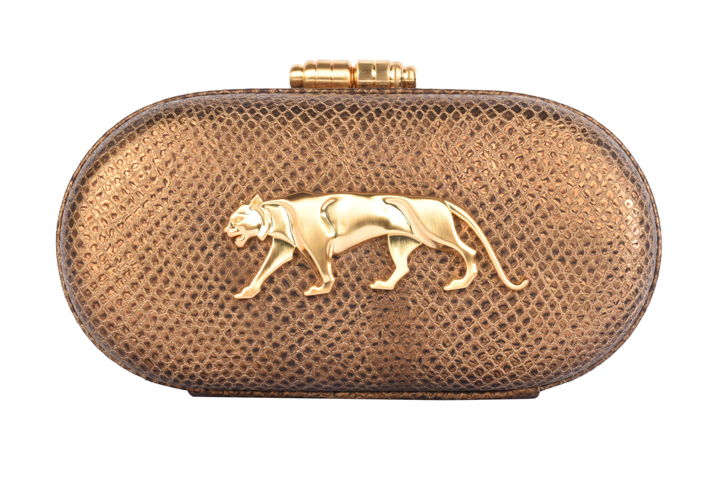 The Royal Bengal Tiger Minaudiere Clutch (Sahara Gold) - The Grand Trunk