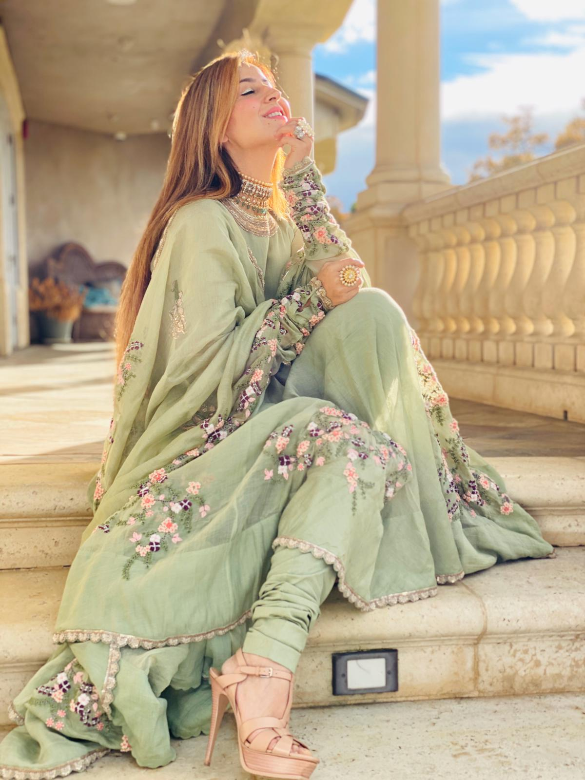 Anamika Khanna Pista Green Anarkali set - The Grand Trunk