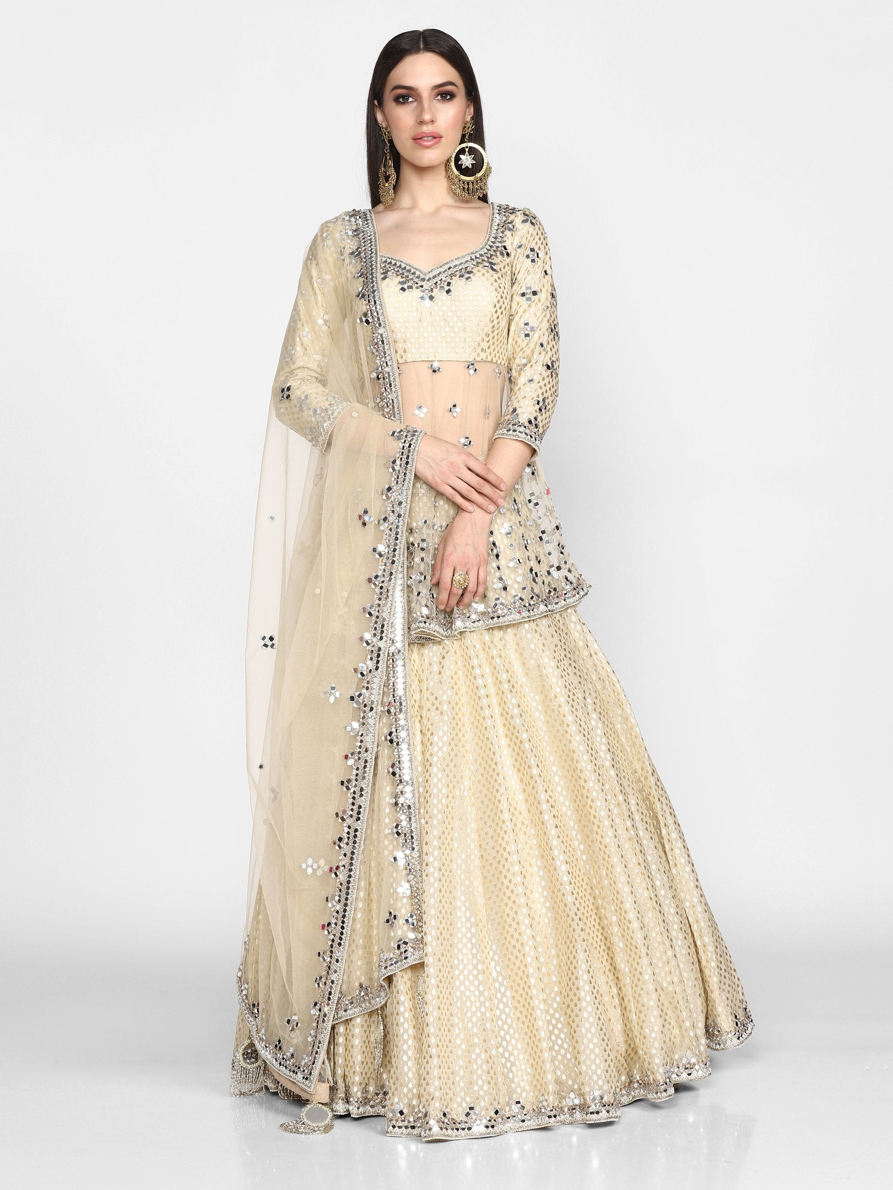 Abhinav Mishra  Beige/ Golden  Peplum And Skirt Set - The Grand Trunk