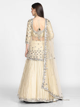 Load image into Gallery viewer, Abhinav Mishra  Beige/ Golden  Peplum And Skirt Set - The Grand Trunk