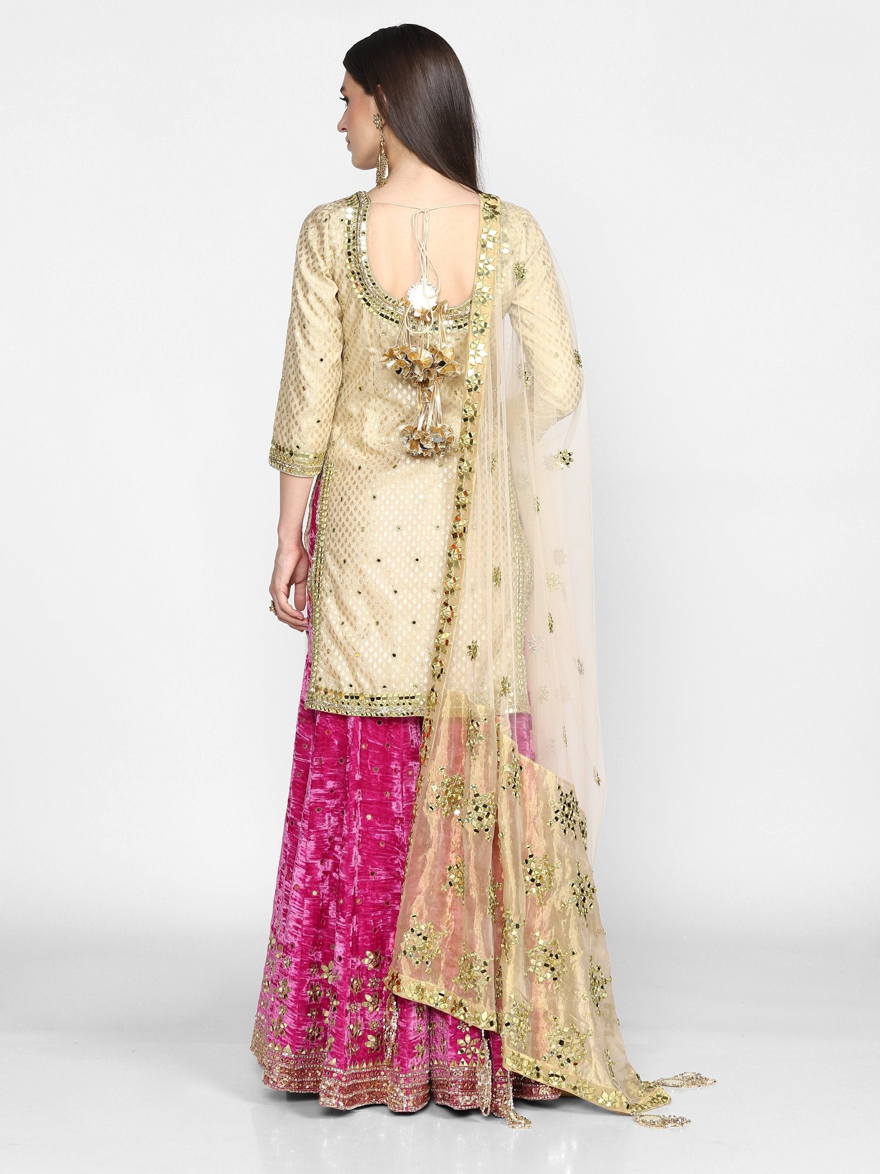 Abhinav Mishra  Beige And Pink  Sharara Set - The Grand Trunk