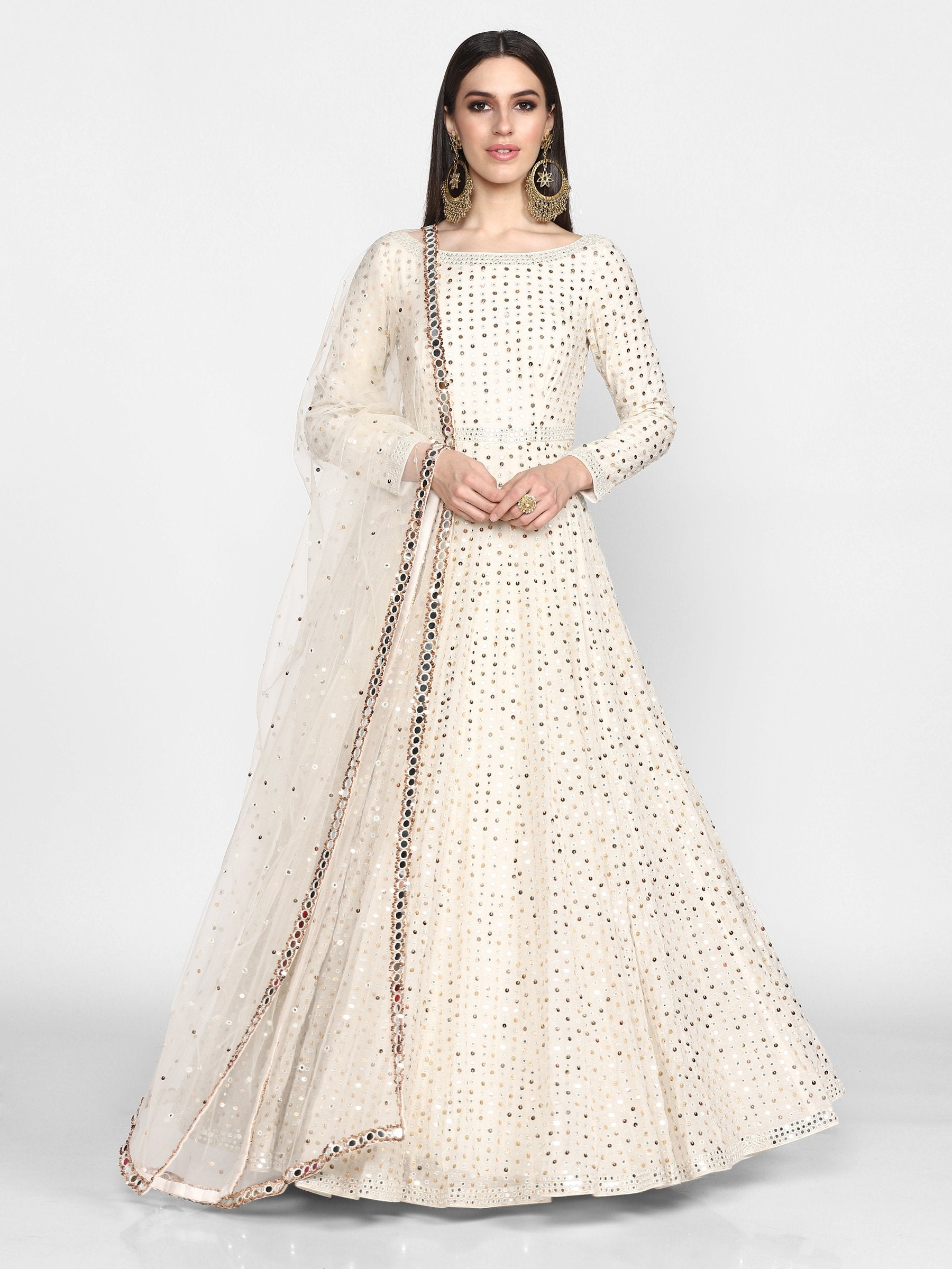 Abhinav Mishra  Off White  Anarkali Set - The Grand Trunk