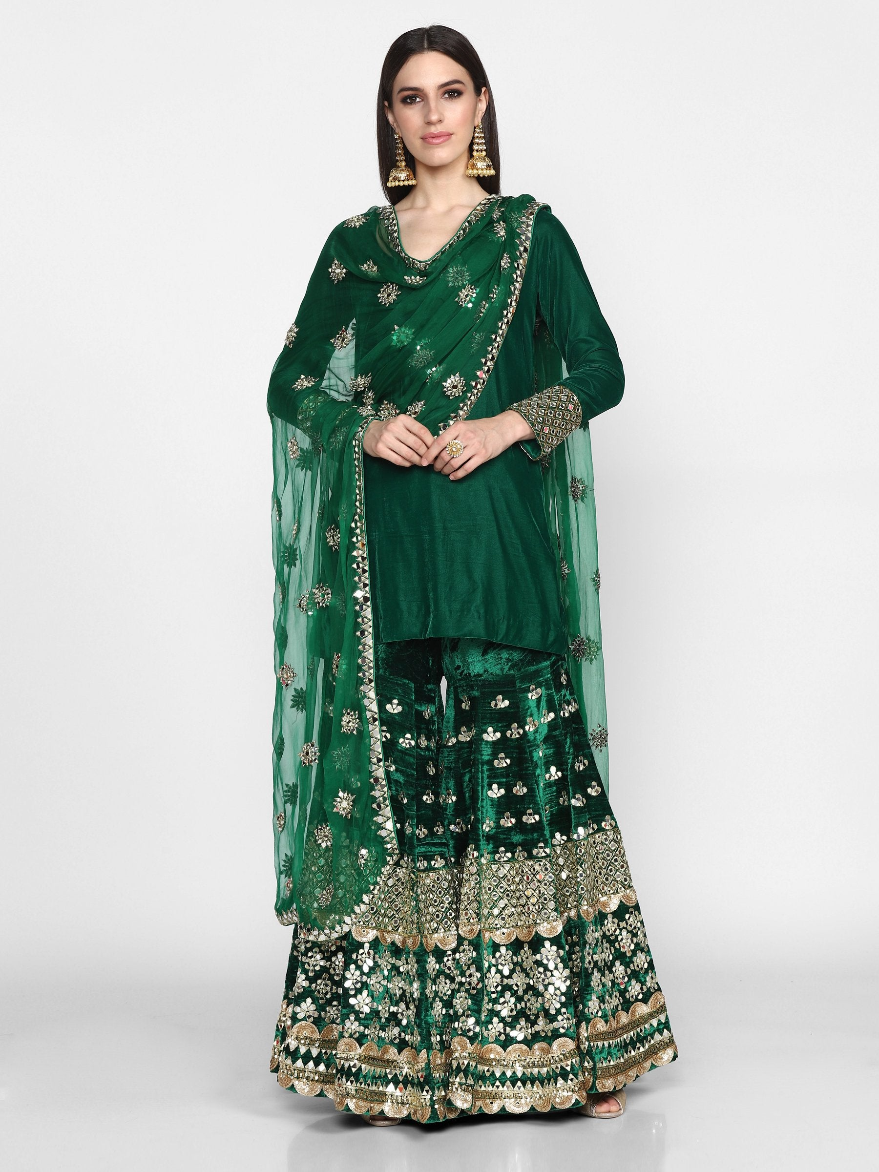 Abhinav Mishra  Green Sharara Set - The Grand Trunk