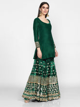 Load image into Gallery viewer, Abhinav Mishra  Green Sharara Set - The Grand Trunk