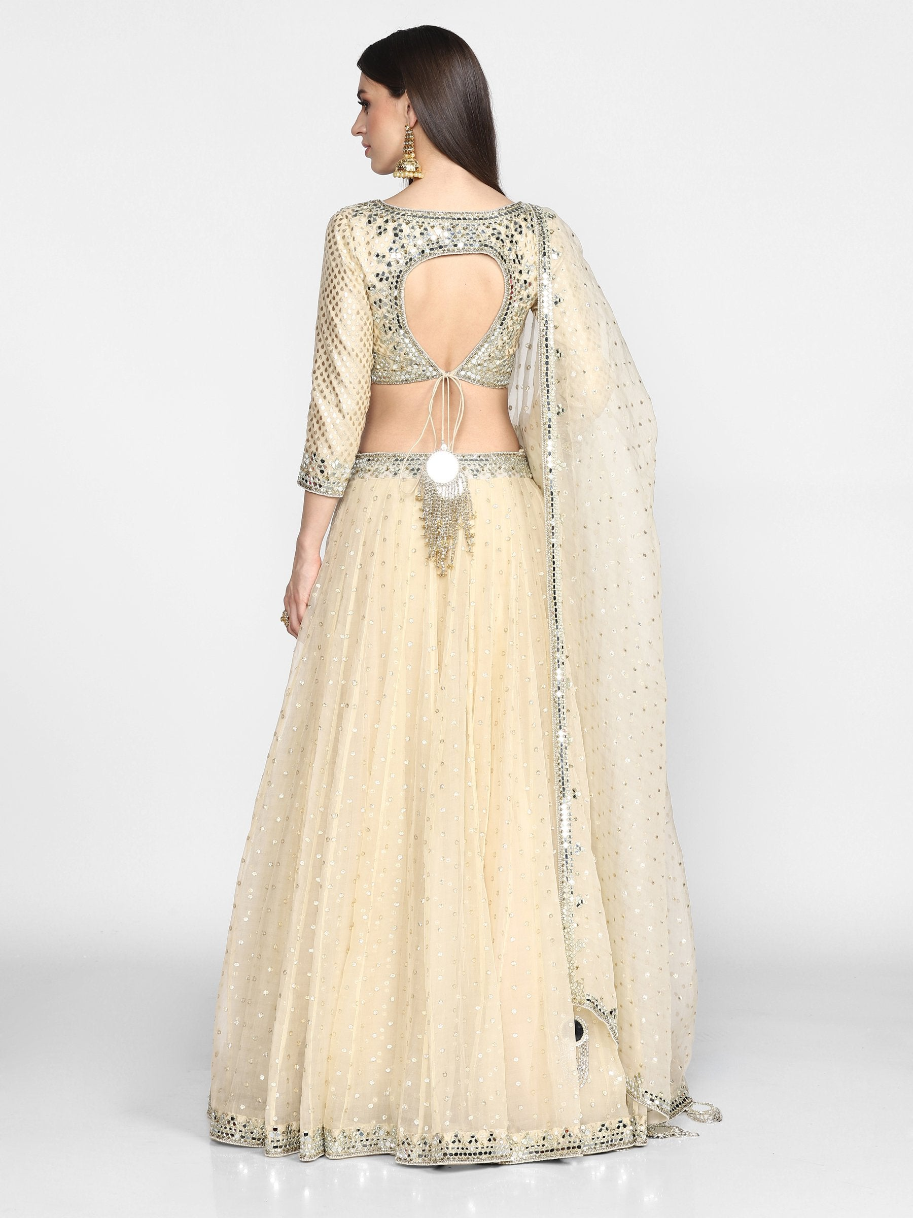 Abhinav Mishra  Beige Lehenga Set - The Grand Trunk