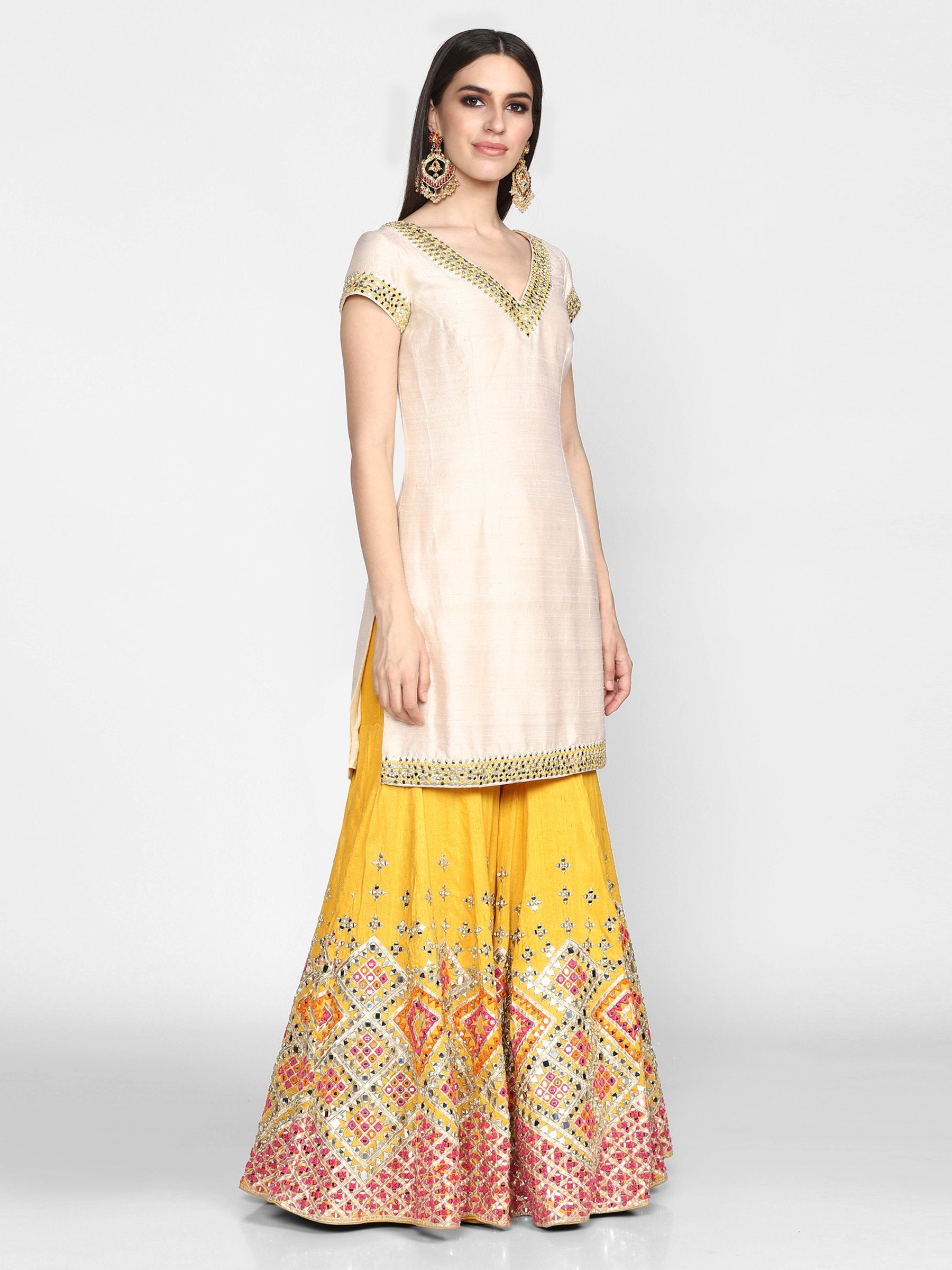 Abhinav Mishra  Off White And Yellow Sharara Set - The Grand Trunk