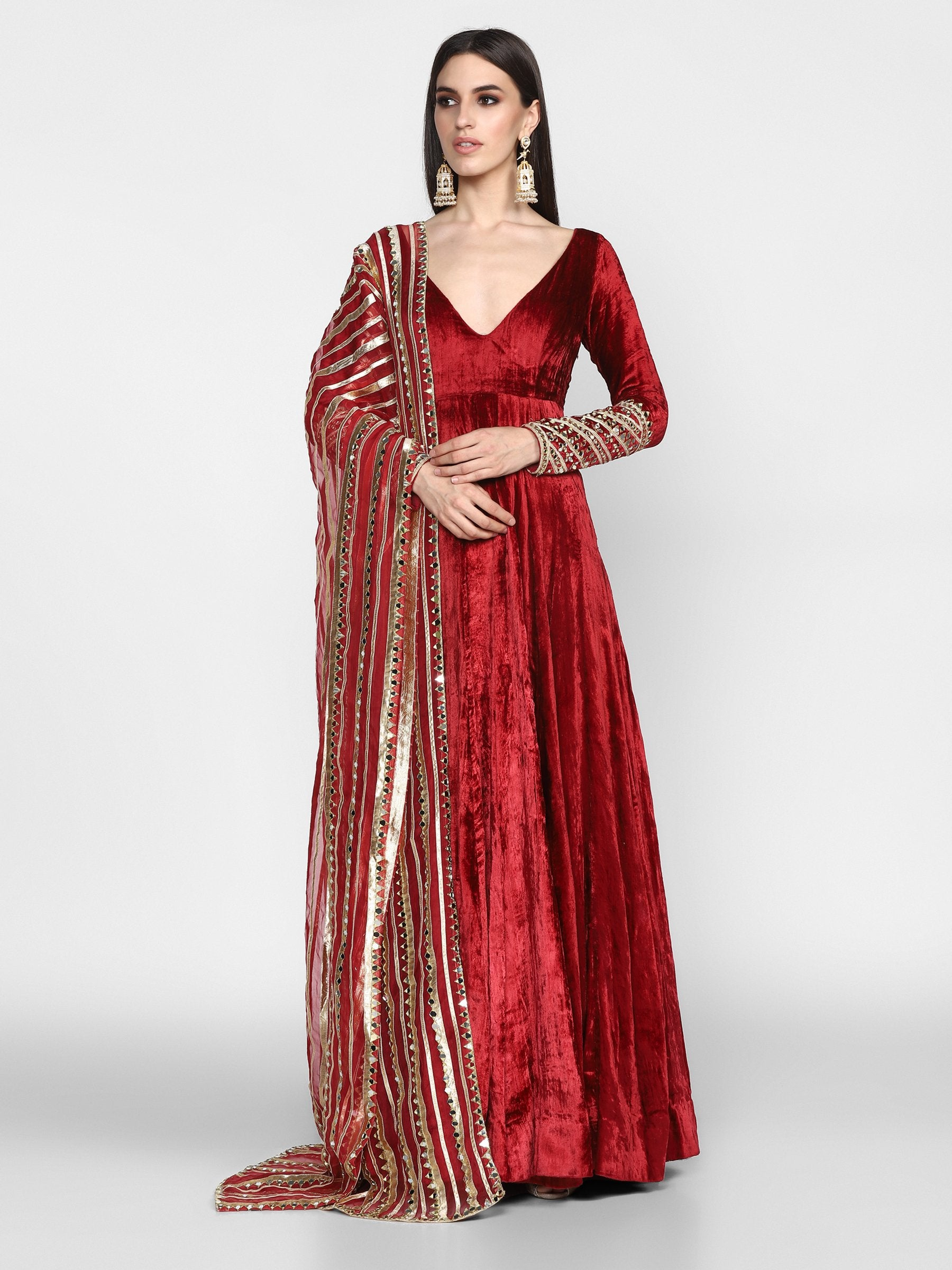 Abhinav Mishra  Maroon Anarkali - The Grand Trunk