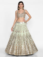Load image into Gallery viewer, Abhinav Mishra Old School Green  Lehenga Set - The Grand Trunk