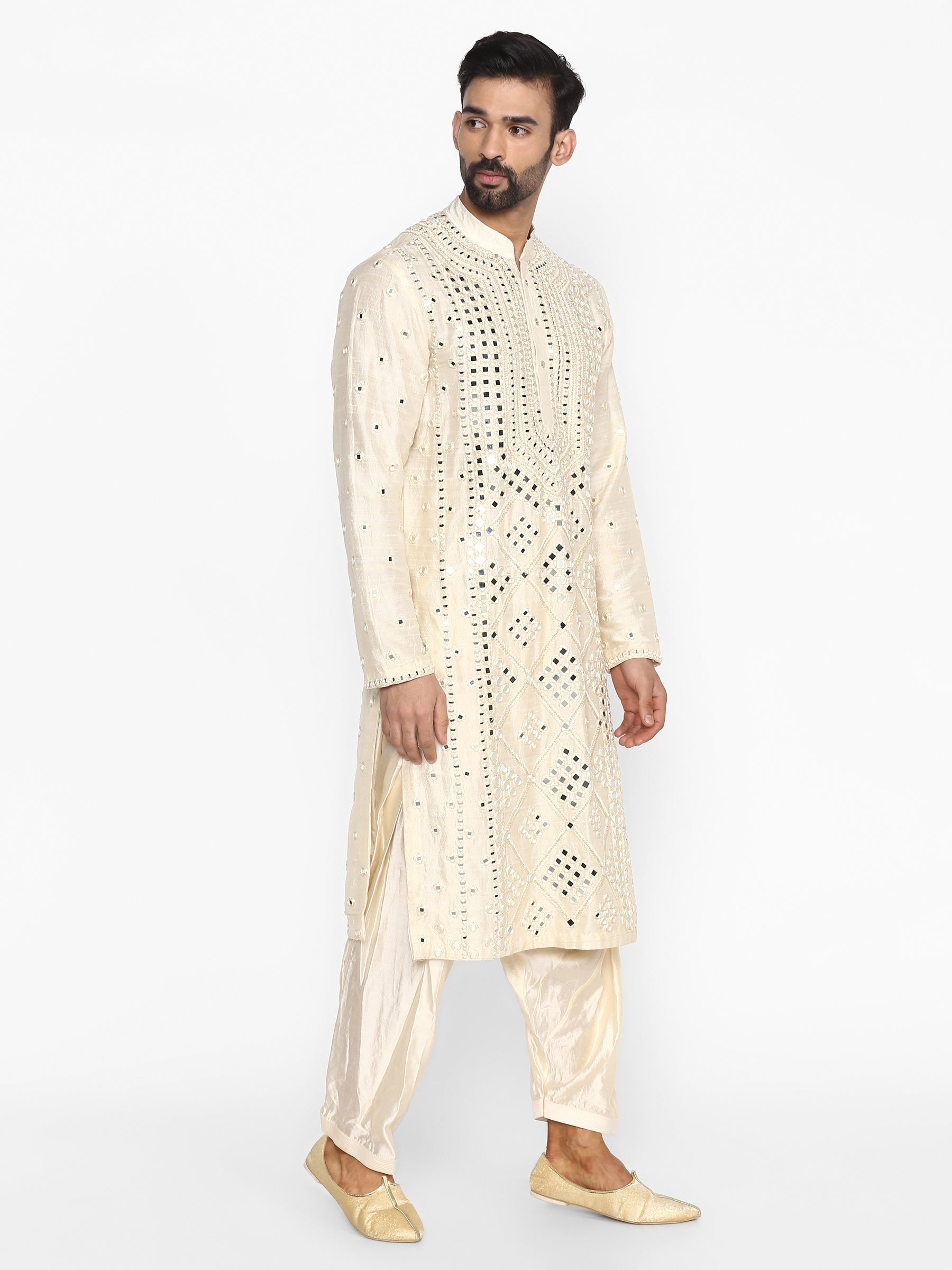 Abhinav Mishra Beige-Cream Kurta - The Grand Trunk