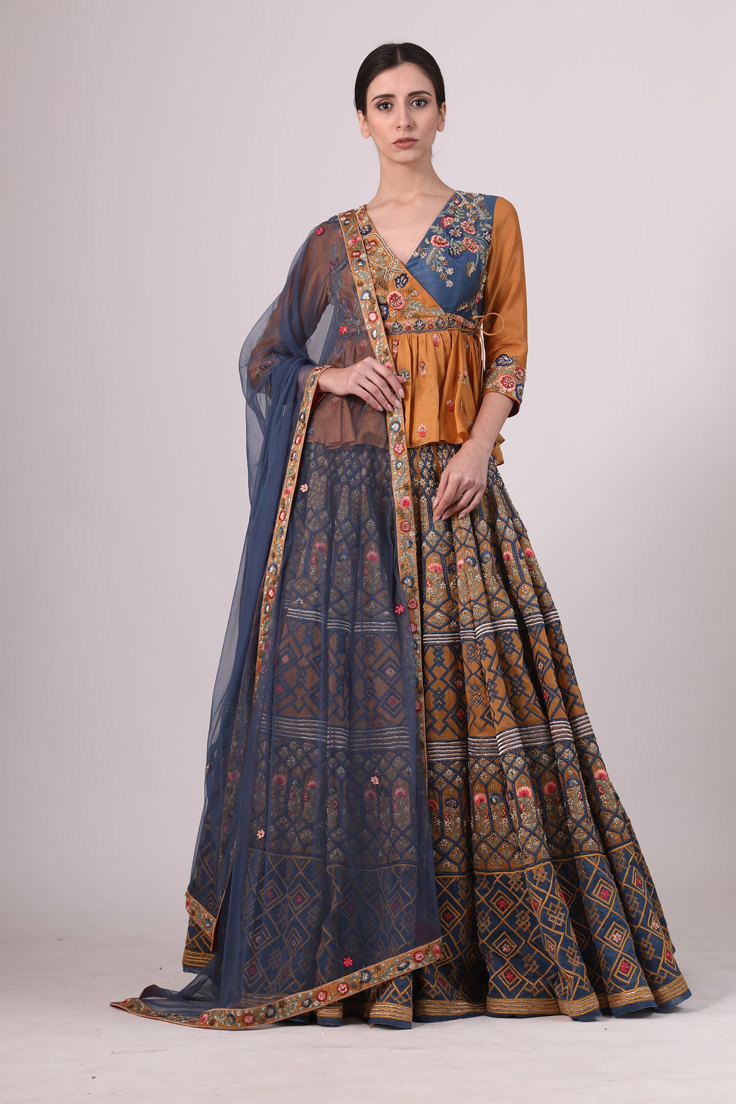 Embroidered Angarakha Blouse, Lehenga & Dupatta set. - The Grand Trunk