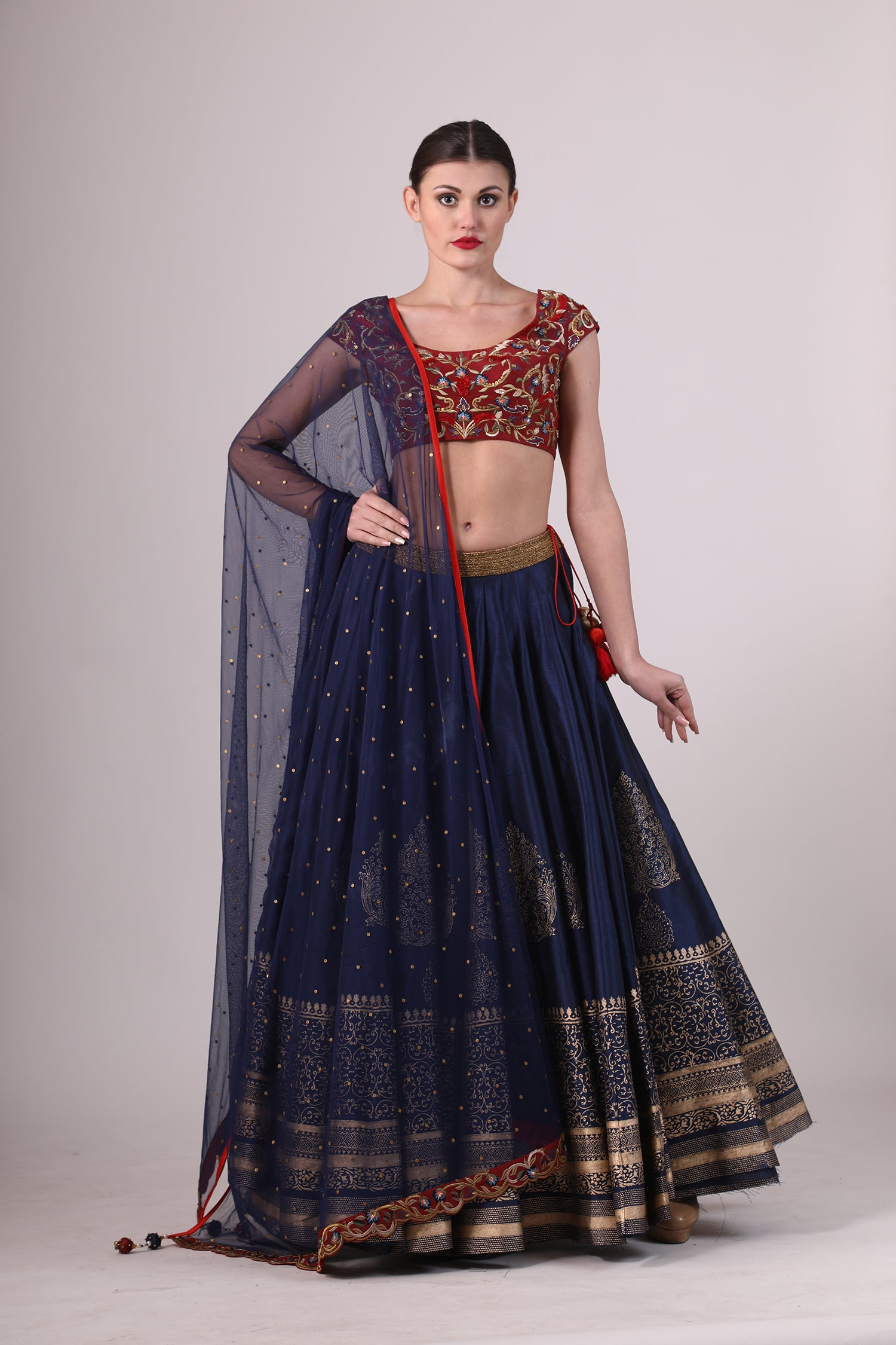 Embroidered & Block Printed Lehenga set. - The Grand Trunk