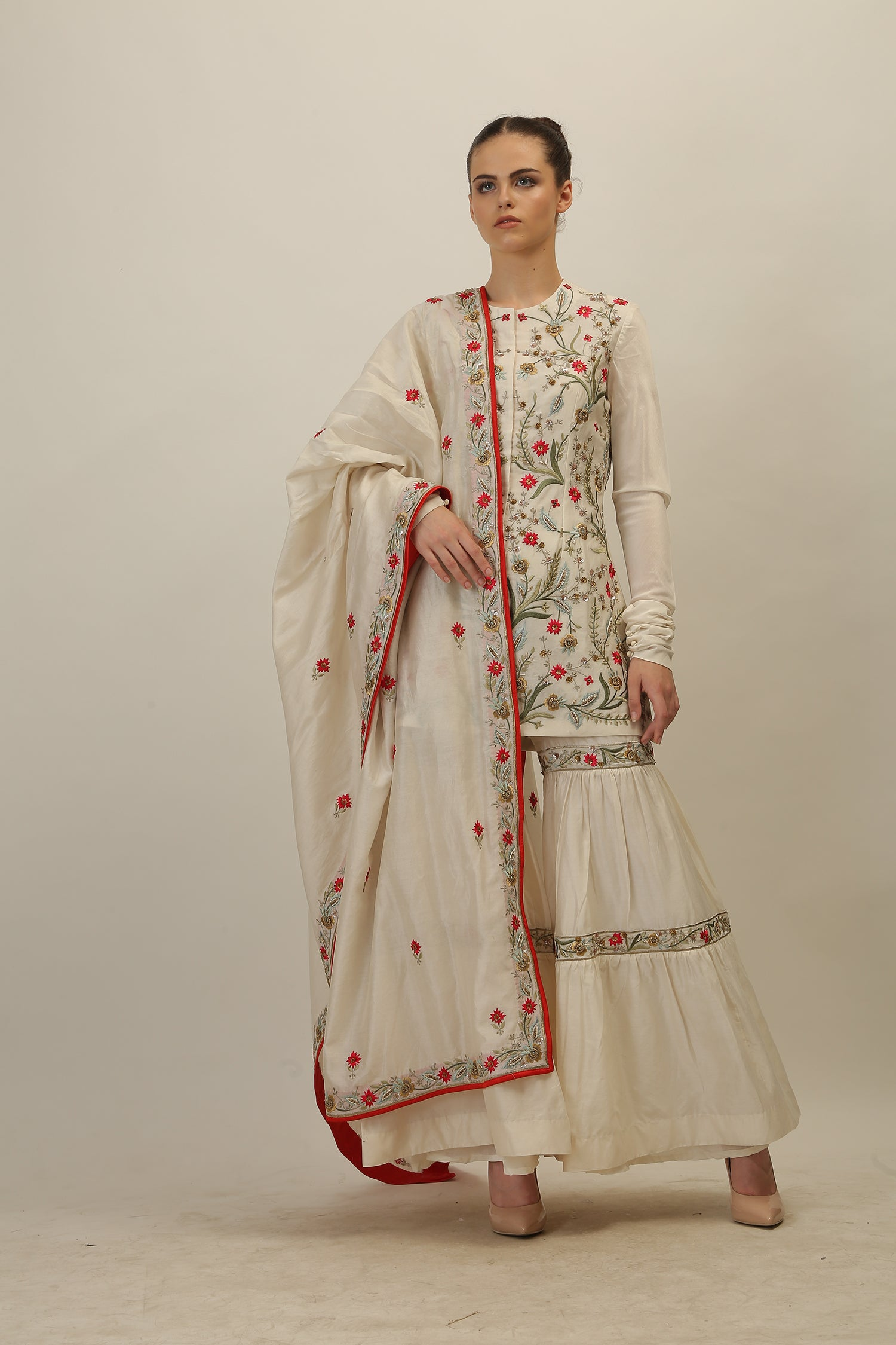 Embroidered Kurta, Sharara & Dupatta set - The Grand Trunk