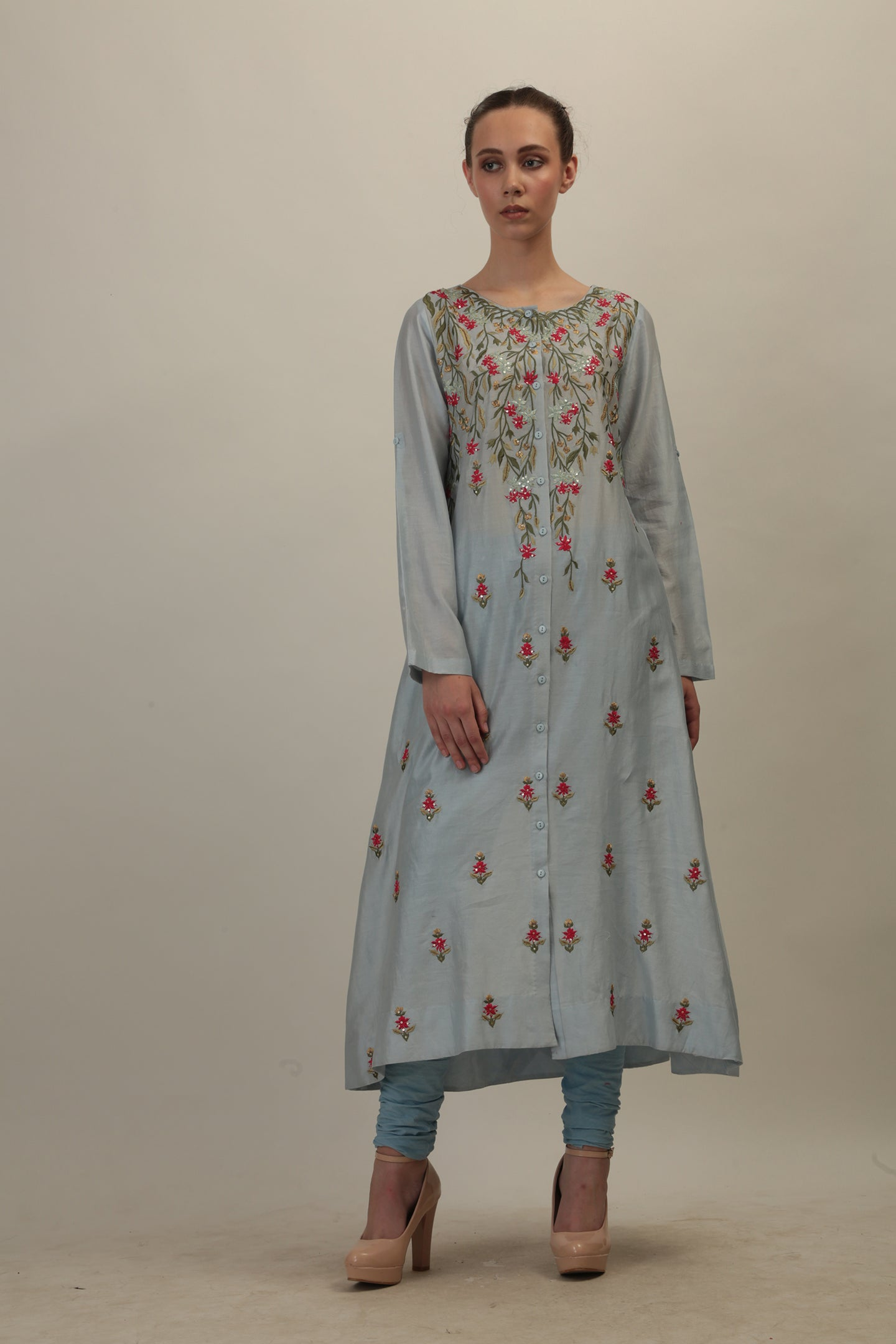 Front Button Placket Embroidered Straight Kurta - The Grand Trunk