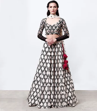 Astha Narang Cream with Black Threadwork Lehenga - The Grand Trunk