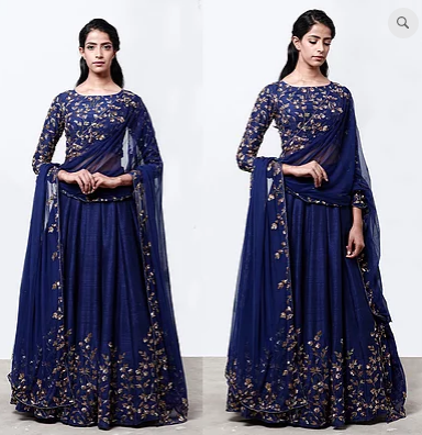 Astha Narang Navy Blue Lehenga With Floral Jaal Blouse - The Grand Trunk